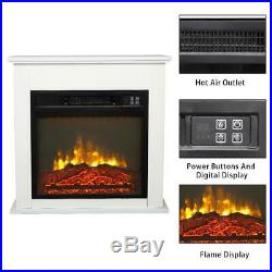 1400W 18 Electric Fireplace Heater Flame Insert Wooden Cabinet Remote Control