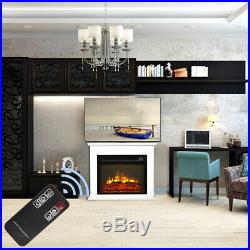 1400W 18 Embedded Electric Fireplace Heater Insert Adjustable with Remote Control