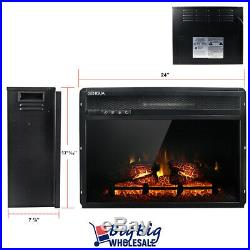 1400W 24 Adjustable Electric Fireplace Heater Wall Insert Freestand withRemote