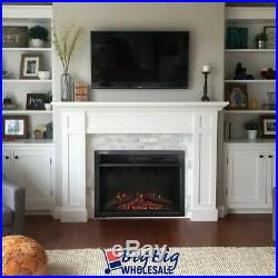1400W 24 Electric Fireplace Heater Insert Freestanding Adjustable Flame +Remote