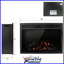 1400W 30 Electric Fireplace Heater Wall Insert Freestanding Adjustable +Remote
