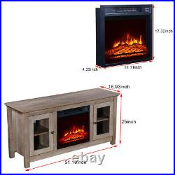 1400W Electric Fireplace Insert 51 Inch TV Cabinet With Small Remote Control US