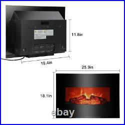 1400W Electric Wall Mount Fireplace Insert Home Infrared Space Heater LED Flame