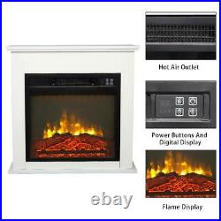 1400W Embedded 18 Electric Fireplace Insert Heater Log Flame Remote Control