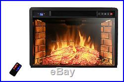 1400W Free Standing Insert Electric Fireplace Firebox Heater Flame Logs Remote