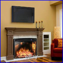 1400W Free Standing Insert Electric Fireplace Firebox Heater Flame Wood Remote