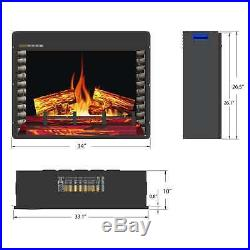 1400W Freestanding 33 Electric Fireplace Insert Firebox 3D Flame with Logs Heater