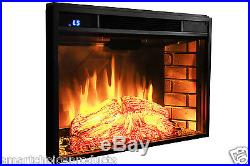 1400W Insert Free Standing 28 Electric Fireplace Firebox Heater Wood Glow Flame