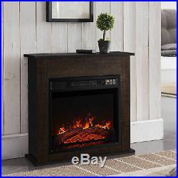 1400w 18 Electric Fireplace Mantel Insert Freestanding Portable Stove Dark Wood