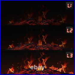1400w 25 Electric Fireplace Mantel Insert Freestanding Portable Stove Dark Wood