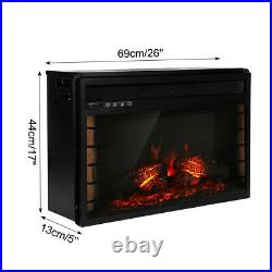 1500W 18'' 23'' 26'' Electric Insert Fireplace Heater Remote Control Thermostat