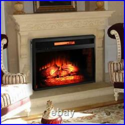 1500W 26 Embedded Electric Fireplace Insert Heater Logs Flame With Remote Control