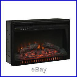 1500W-750W 26 Fireplace Electric Embedded Insert Heater Log Flame Remote Black