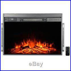 1500W Black Electric Firebox Fireplace Heater Insert Glass Panel with Remote