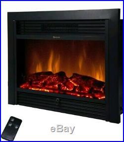 1500W Black Electric Fireplace Freestanding Heater Insert Wall Mounted Glass