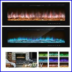 1500W Electric Fireplace Insert 36 Heater Wall Mounted With Remote/9 LED Flame