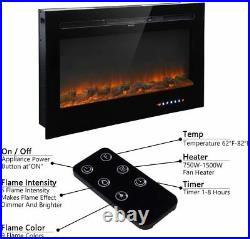 1500W Electric Fireplace Insert 36 Heater Wall Mounted With Remote & Touch Screen