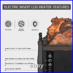 1500W Electric Fireplace Insert Logs Heater Quartz Realistic Flame with Remote