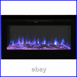 1500W Electric Heater Recessed/Wall Mounted Fireplace Insert with Remote Control