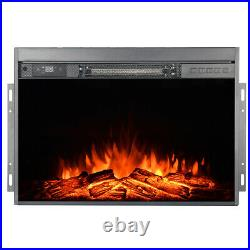 1500W Electric Insert Firebox Fireplace Heater Glass Panel with Remote Control