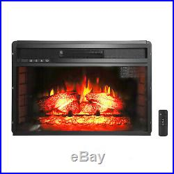 1500W Embedded 26 Electric Fireplace Insert Heater Log Flame and Remote Control