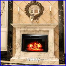 1500W Embedded 26 Electric Fireplace Insert Heater Logs Flame With Remote Control