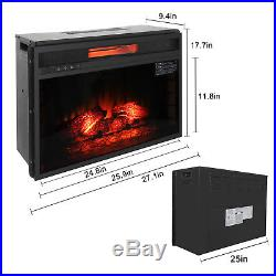 1500W Embedded 26 Electric Fireplace Insert Heater with Remote Adjust