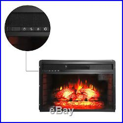 1500W Embedded Electric Fireplace Insert Heater Log Flame with Remote Black