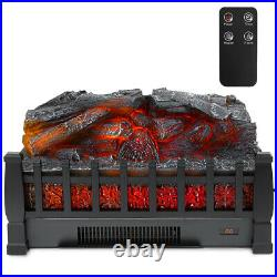 1500W Fireplace Logs Electric Infrared Heat Insert Space Heater Logs with Remote