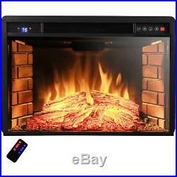 1500W Insert Electric Fireplace 28 Heater Glass View Free Standing 3D Flame Log