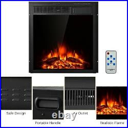 1500W Portable Electric Fireplace Space Heater Log Flame Stove Freestanding RC