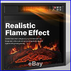 18Embedded Electric Fireplace Insert Remote Heater Adjustable Flame 1400W Black
