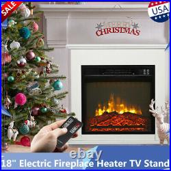18 Electric Fireplace Heater Insert TV Stand Wood Cabinet 1400 W Remote Control