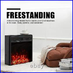 18 Electric Fireplace Insert Freestanding Embedded Fireplace Heater withRemote US