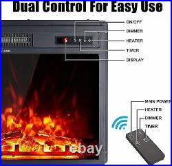 18 Electric Fireplace Insert Freestanding Embedded Fireplace Heater with Remote