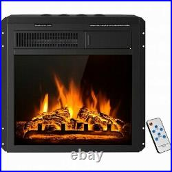 18 Electric Fireplace Insert Freestanding & Recessed Heater Log Flame Remote