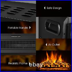 18 Electric Fireplace Insert Freestanding and Recessed Heater Log Flame Remote
