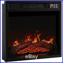 18 Electric Fireplace Insert Glass View Adjustable Log Flame 1400W, Black