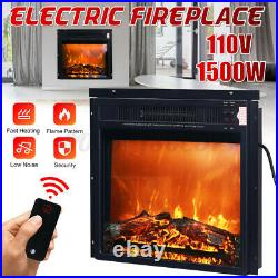 18 Embedded Electric Fireplace Insert Remote Heater LED Realistic Flame 1500W