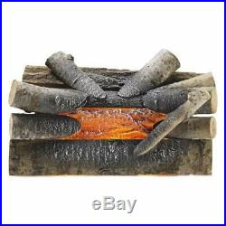 20 In. Electric Fireplace Logs Realistic Glowing Crackle Wood Insert Iron Grate