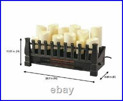 20 in. LED Candle Electric Fireplace Insert with Infrared Space Heater Black NEW