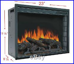 23 Electric Firebox Insert with Fan Heater and Glowing Logs for Fireplace
