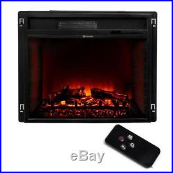 23 Electric Fireplace Heater Insert flat Glass Panel with Remote, Black