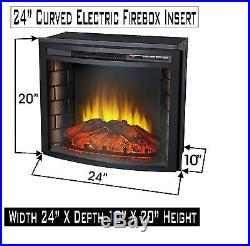 24 Curved Electric Fireplace Insert Firebox with Heater chimney Vent free