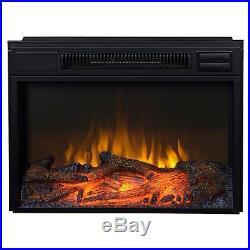 24 Electric Firebox Insert Fireplace Heater Metal Glass Screen Black Remote NEW