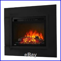 24 In. Electric Log Fireplace Insert With Trim Kit Fire Place Realistic Logs New