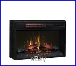 25 Curved Electric Fireplace Insert Realistic Log Flame LED Infrared Heater