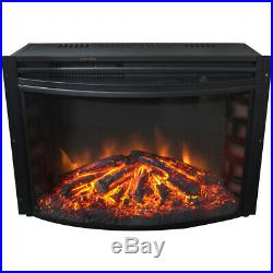 25-In. Freestanding 5116 BTU Electric Curved Fireplace Heater Insert with Rem