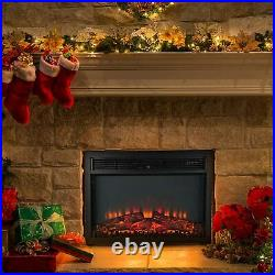 26 1400W Fireplace Electric Embedded Insert Heater with LED Flame + Remote Contrl