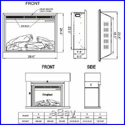 26'' 750W-1500W Fireplace Electric 5-Mode Embedded Insert Heater Glass Log Flame